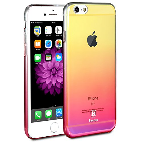 Baseus iPhone 6 6s Gradual Colorful Case Change Color shell (0.03inch Ultra Slim) 0.4oz Lightweight Phone Shell Cover for Apple iPhone 6 6s 4.7 inch 2016 Release (Pink)