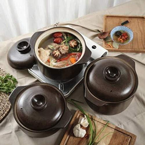 YWSZJ Ronde en céramique noire Plat Casserole Clay Pot Pot Terrestres couvercle en céramique, brun foncé
