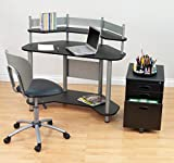 Calico Designs 55123 Study Corner Desk, Silver with Black Studio Designs, Inc.