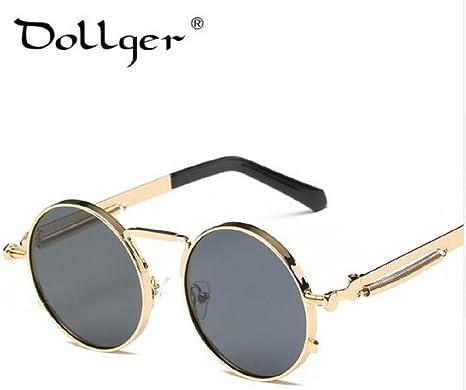 ffd0d92588e Dollger Steampunk Round Sunglasses Women Men Brand Designer REVO Coating  Mirror Mens Sun Glasses (