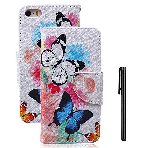 Tebeyy Handy-Case / Flipcover für Apple iPhone SE, iPhone 5S und iPhone 5, aus Kunstleder mit Magnetverschluss und Kartenschlitzen, Motiv: Blumen-Tier-Cartoon, inkl. Displayschutzfolie & Stylus Pen, s
