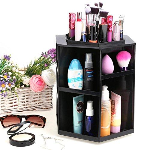 360 Degree Rotating Makeup Cosmetic Organizer, Desktop Spinning Cosmetic Makeup Organizer Storage Box Display Case Black