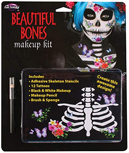 Ladies Day of the Dead Skeleton Tattoos Make Up Halloween Face Painting Kit Fancy Dress Costume Outfit -