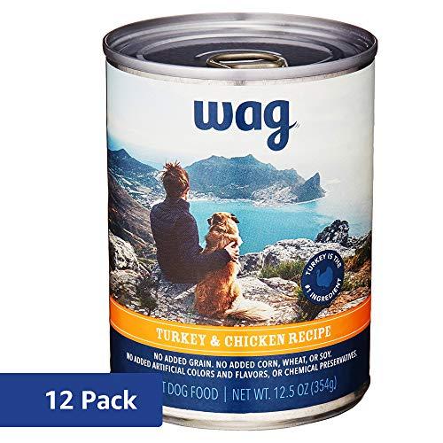 Amazon Brand - Wag Wet Dog Food, Turkey & Chicken Recipe, 12.5 oz Can (Pack of 12)