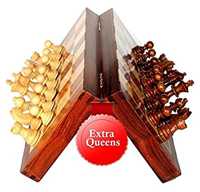 BKRAFT4U Handmade Wooden Rosewood Foldable Magnetic Chess Game Board with Storage Slots, 12 inch 2 Queens