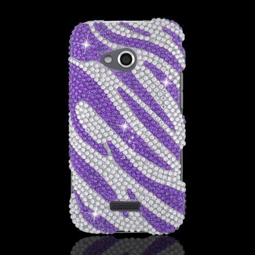 White Samsung Faceplates - LF Purple Zebra Designer Rhinestone Case Protector Cover, Stylus Pen and Screen Wiper Bundle Accessory for Samsung Galaxy Victory 4G Lte Verizon