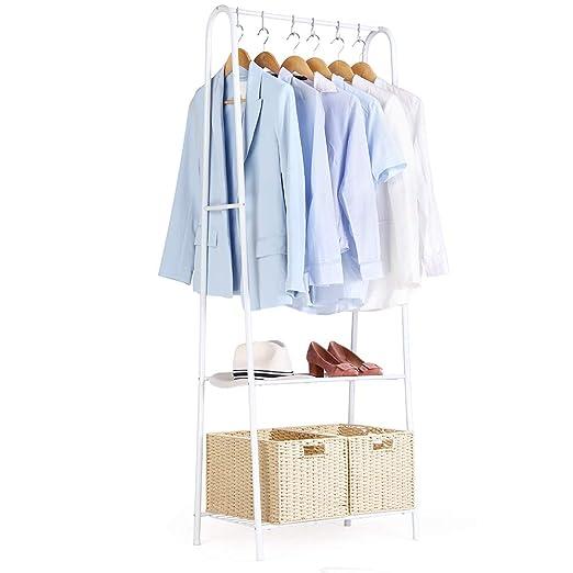 Perchero Perchero de hierro Perchero de Burro Colgador para ropa Multifuncional Perchero de Pie Zapatero con 2 estantes de metal para organizar la ...
