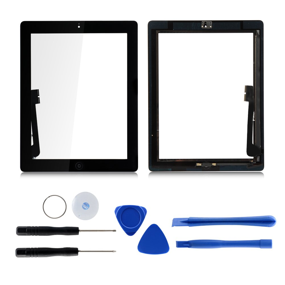 Touch Screen for Ipad 4 with Home Button,Tongyin Digitizer Replacement Kits Included Professional Repair Tools and Pre-Installed Adhesive(Black) by Tongyin