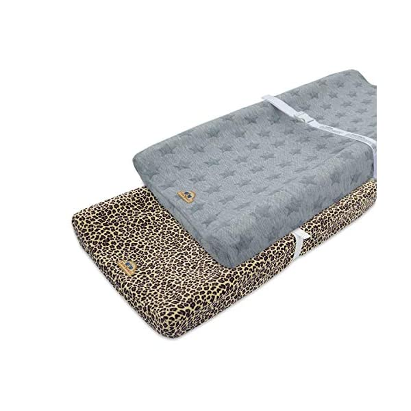 BlueSnail Plush Super Soft and Comfy Changing Pad Cover Change Table Cradle Bassinet Sheets with Straps for Baby 2-Pack (Brown+Gray)