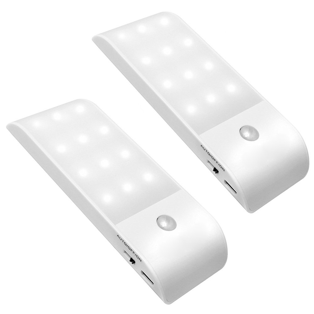 VIKYLIN Rechargeable Motion Sensor Closet Light Activated Lights with Magnetic Strip Stick-on Anywhere Stair,Bedroom,Wardrobe,Workshop,Attic,Hallway,Under Cabinet Lighting,Garage etc White, Pack of 2