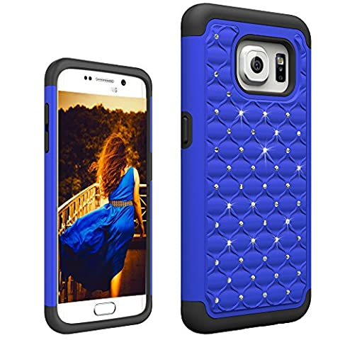 S7edge Case, Samsung S7 Edge Case [Fit Galaxy S7edge, Not for S7], Boonix Hard PC + Soft Silicone Combo ShockProof Mobile Cover, 2 in 1 Hybrid Protective Bumper [Crystal Midnight - Studded Revolution