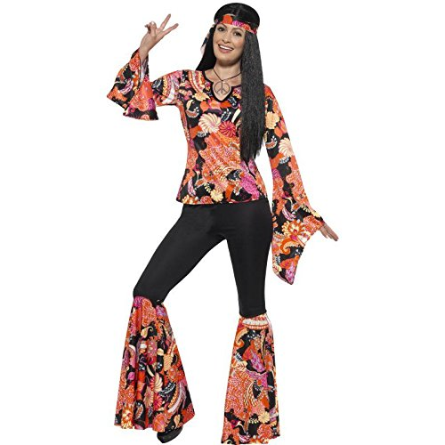 Easy Halloween Costumes 2016 (Smiffy's Women's 1960's Willow The Hippie Costume, Top, pants, Headscarf and Medallion, 60's Groovy Baby, Serious Fun, Size 14-16, 45516)