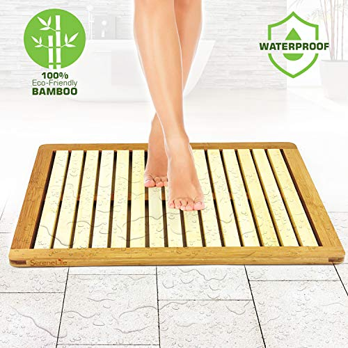 (Bamboo Wood Bathroom Bath Mat - Heavy Duty Natural or Shower Floor Foot Rug with Elevated Design for Water Evaporation and Non Slip Rubber Feet for Indoor Outdoor Use - SereneLife SLFBMT10)