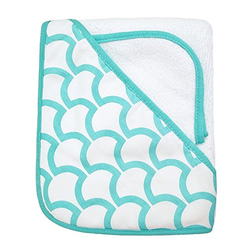 Terry Hooded Towel & Washcloth Set made with Organic Cotton, White with Aqua Sea Waves (American Baby (Tl Care Organic Cotton)