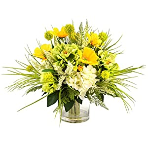 Creative Displays Mixed Floral Arrangement with Peonies, Hydrangea, Poppy, Heather and Allium Set in Glass Vessel with Acrylic Water 93