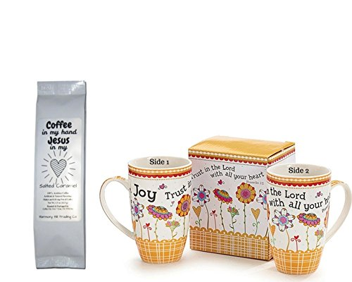 Trust in the Lord with All Your Heart Mug with Coffee in My Hand Jesus in My Heart Salted Caramel Coffee Gift Set 2 Item (Lane Bone China)