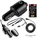 3 in 1 Car Charger, Usb Charger, House Charger By Naztech for KYOCERA E1100 (Neo), E2000, M1400 (Laylo), M2000 (X-TC), S1300 (Melo), S1310 (Domino), S2300 (Torino/Loft), S4000 (Mako). Includes Free Lanyard, Wrist Strap and Antenna Booster.