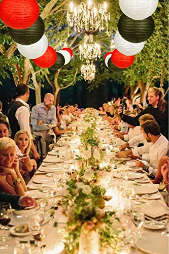 24pcs Round Paper Lanterns for Wedding Birthday Party Baby Showers Decoration Black/Red by Zilue (Image #4)