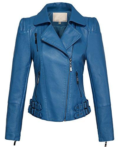 chouyatou Women's Asymmetric Zip-Up Motorcycle Cropped Pu Leather Biker Jackets (X-Large, Blue)