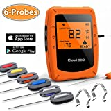 remote bbq thermometer iphone - Beaspire Wireless Bluetooth Meat Smoker Thermometer for Grilling with APP (6 Probes) - Digital Remote Grill BBQ Thermometer Oven Safe for Smokers Kitchen Food Cooking