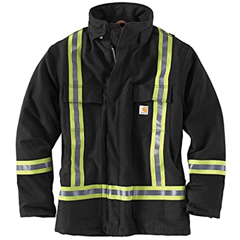 Carhartt Men's High-Visibility Striped Duck Traditional Coat 2Xlarge Tall Black
