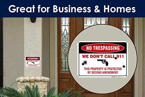 No Trespassing Sign, This Property is Protected by Second Amendment, 10x14 Rust Free Aluminum, Weather/Fade Resistant, Easy Mounting, Indoor/Outdoor Use, Made in USA by SIGO SIGNS