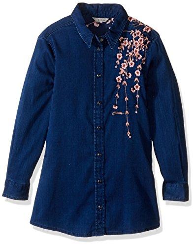 GUESS Big Girls' Embroidered Denim Button Front Shirt, Sh...