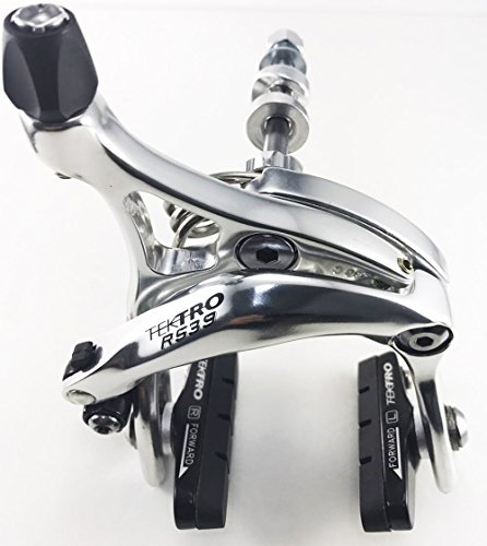 Tektro R539 Dual Pivot Road Brake Caliper Long arms 47-59mm( Nutted / Hex nut) Old School Nut - Front/ Rear/ Set/ Silver, Black (Silver, Front Wheel)
