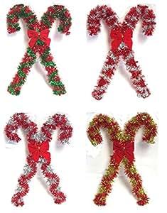 Juego de 4 espumillón de Navidad con bastones de caramelo decorativa de pared con forma 40 cm rojo plateado amarillo y verde