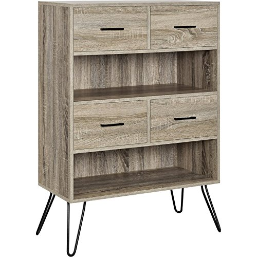 MIK Wood Bookcase with 4 Fabric Bins - Bookcase with 4 Drawers - Sonoma Oak