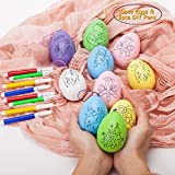 easter decorating ideas Easter Eggs - 10-Pack of Decorative Painting Kit with 8pcs Water Color DIY Pens Hanging Easter Eggs for DIY Crafts and Assorted Easter Ornaments, Multicolor, 3.15 x 1.78 x 1.78 Inches