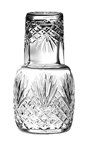 Barski - Mouth Blown - Hand Cut - Crystal - 2 Piece Set - 25 oz . Bedside Night Carafe / Desktop Carafe with Tumbler Glass - 8.25