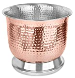 BirdRock Home Stainless Steel Copper Plated Wine Bucket | Party Drink Cooler Holder | Hammered | Wine Chiller | Table Top | Outdoor or Indoor Use