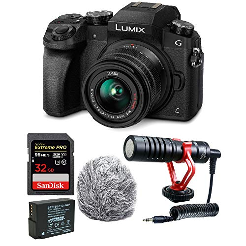 Panasonic LUMIX G7 Mirrorless Digital Camera with 14-42mm Lens and 32GB Compact Microphone Bundle