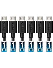 Sabrent–Juego de 6 cables Micro USB de alta calidad de91cm, 22AWG, alta velocidad, macho USB 2.0A a macho Micro B, para sincronizar y cargar, color negro (CB-UM63)