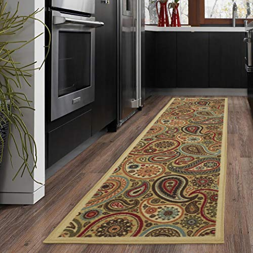"""Ottomanson Ottohome Collection Beige Contemporary Paisley Design Modern Skid (Non-Slip) Rubber Backing (20""""X59"""") Kitchen and Bathroom Runner Area Rug, 20"""" x 59"""","""