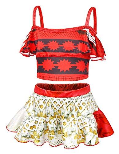 (AmzBarley Girls Princess Moana Bathing Suit Swimwear Kids 2-Piece Swim Skirts Tankini Beach Cover up Age 7-8 Years Size 8)