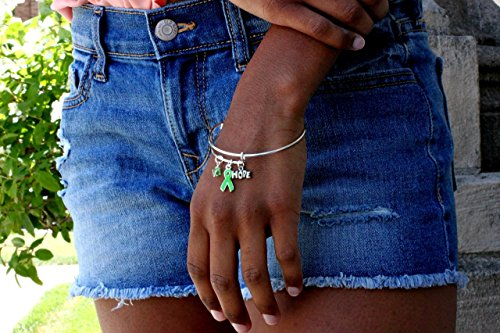 Lime Green Ribbon Awareness Alex inspired charm bracelet.Lymphoma, Non-Hodgkins, Lyme Disease, Muscular Dystrophy, Sandhoff Disease, (Alex Ribbon)