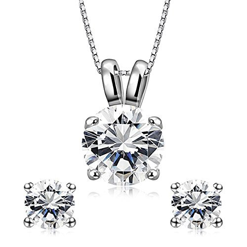 Finrezio Platinum-Plated Cubic Zirconia Necklace Stud Earrings Set for Women Girls Round-Cut Pendant Necklace Bridal Jewelry Gift for Her ()