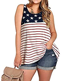 Women Sleeveless Stars and Stripes Print Plus Size Tank...