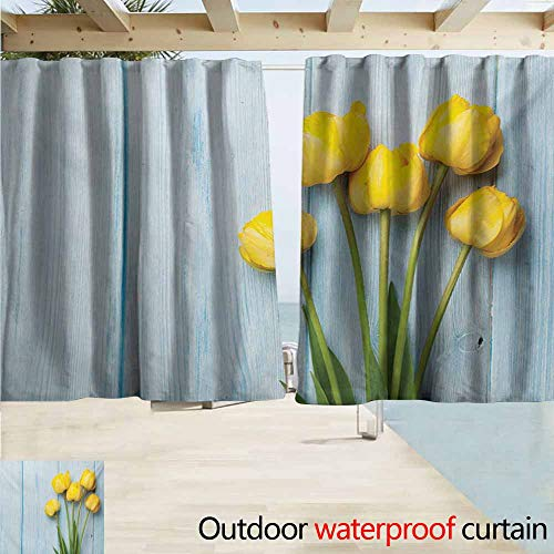 Wakefield Curtain - Lcxzjgk Tulip Sliding Door Curtain Yellow Flowers on Old Wooden Rustic Background Valentines Romantic Theme Energy Efficient, Room Darkening W55 xL45 Baby Blue Yellow Green
