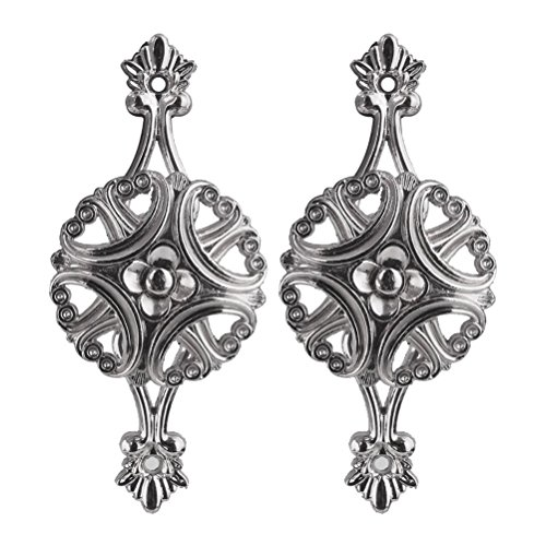 Hardware Holdbacks (WINOMO 1 Pair of Flower Design Curtain Holdbacks Tieback Hooks Hanger (Silver))