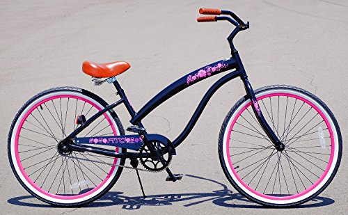 "Anti-Rust Aluminum frame, Fito Modena II Alloy Single 1-speed women's 26"" Urban Beach Cruiser Bike Bicycle (BLACK/PINK RIMS)"