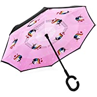 Small Reverse Umbrella for Kids 10+ Inverted Umbrella Double Layer Umbrella Windproof UV Protection with C-Shaped Handle
