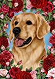 Golden Retriever – Tamara Burnett Valentine Roses Large Flag For Sale