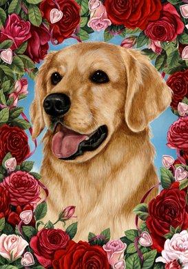 Golden Retriever – Tamara Burnett Valentine Roses Large Flag For Sale