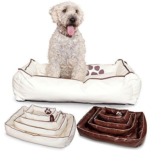 Smoothy Hundekorb aus Leder; Hunde-Körbchen; Hundebett für Luxus Vierbeiner; Beige-Weiß Größe M (83x57cm)