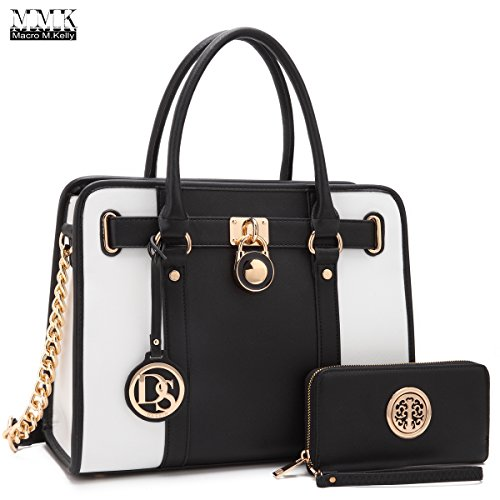 MMK collection Fashion Handbag with coin purse(XL-11) Classic Women Purse Handbag for Women` Signature fashion Designer Purse ~ Perfect Women Satchel Purse (XL-02-7103W-BK/WT) by Marco M. Kerry