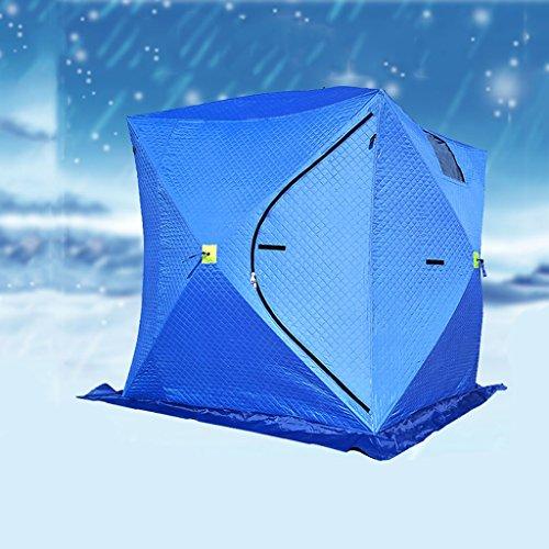 背の高い熟練した単位綿のテント、氷釣り冬の釣り暖かい肥厚テント自動スピードオープンブルー3-4人氷釣りハウス(サイズ:200 * 200 * 210センチメートル)