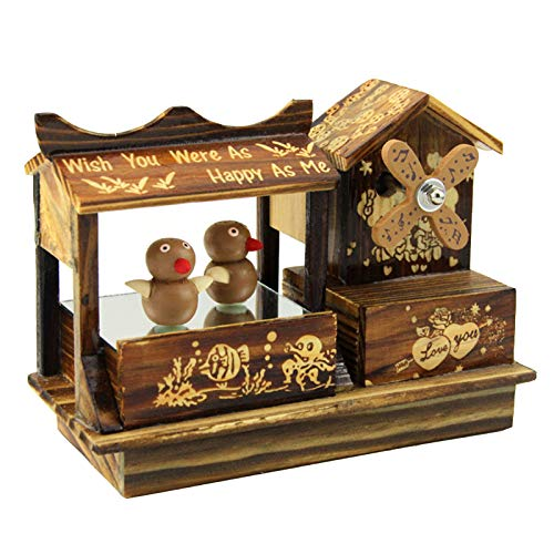 AMHoome Retro Wooden Music Box -Hand Carved Wooden Windmill Decoration Clockwork Musical Boxes - Handicrafts Home Decoration - Birthday Present for Kids Boys Girls Friends, Dancing Bird